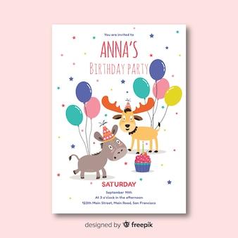 Plantilla de invitación de feliz cumpleaños en estilo plano