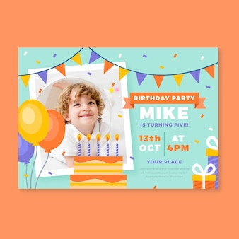 Plantilla de invitación de feliz cumpleaños para niños