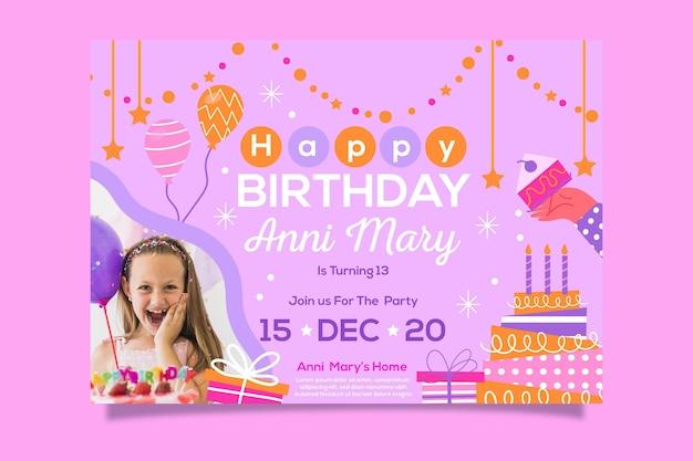 Plantilla de invitación de feliz cumpleaños