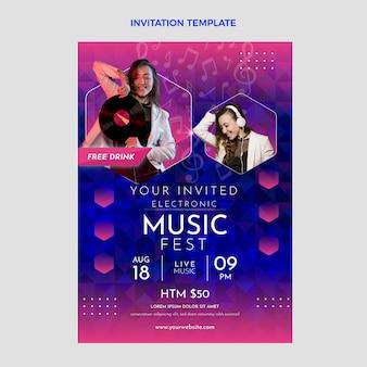 Plantilla de invitación de festival de música colorido degradado