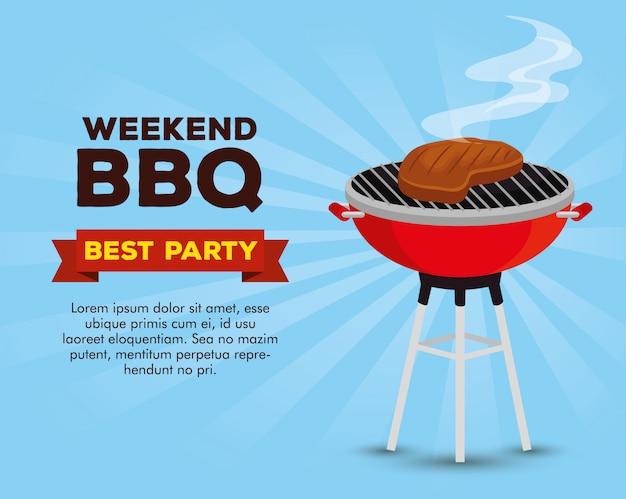 Plantilla de invitación de fiesta bbq de fin de semana