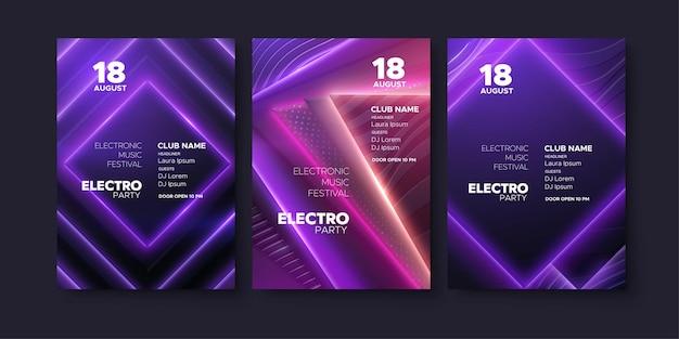 Plantilla de invitación de fiesta de club de festival de música electrónica.