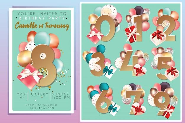Plantilla de invitación de fiesta de cumpleaños con números