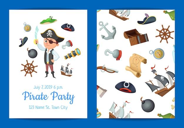 Plantilla de invitación de fiesta de cumpleaños de piratas marinos de dibujos animados