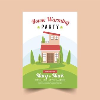 Plantilla de invitación de fiesta de inauguración con casa ilustrada