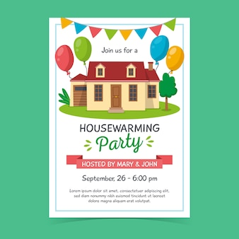 Plantilla de invitación de fiesta de inauguración