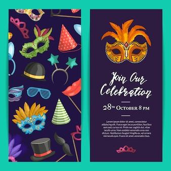 Plantilla de invitación de fiesta con máscaras y accesorios de fiesta