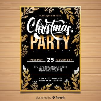 Plantilla de invitación de fiesta de navidad dorada