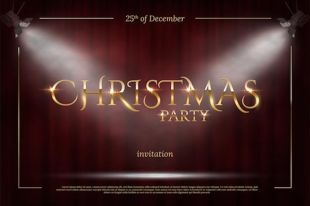 Plantilla de invitación de fiesta de navidad, marco dorado con focos sobre fondo de cortina roja.