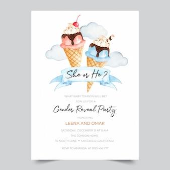 Plantilla de invitación de fiesta de revelación de género con ilustración de helado de acuarela