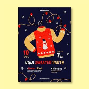 Plantilla de invitación a fiesta de suéter feo