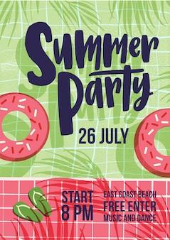 Plantilla de invitación para la fiesta de verano al aire libre con piscina de agua, tubo de natación, sombras de exóticas palmeras tropicales y chanclas y lugar para el texto. ilustración vectorial plana