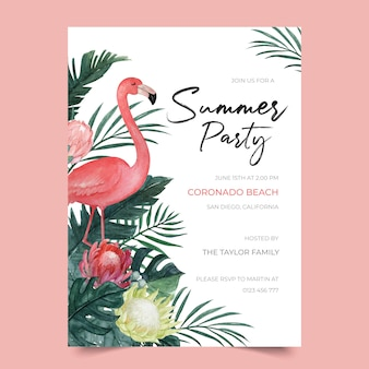 Plantilla de invitación de fiesta de verano con flamingo e ilustración floral tropical