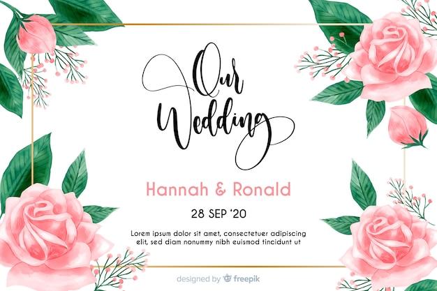 Plantilla de invitación floral de boda en acuarela