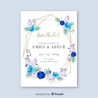 Plantilla de invitación floral de boda