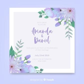 Plantilla de invitación floral y elegante de boda