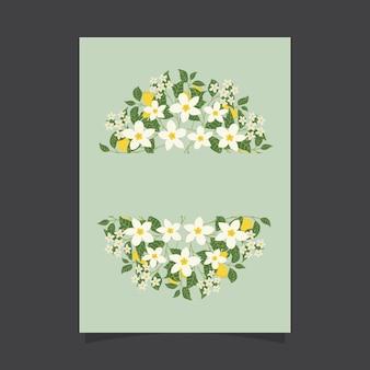 Plantilla de invitación floral con flores de jazmín y limones