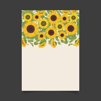 Plantilla de invitación floral con girasoles