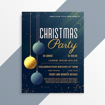Plantilla de invitación de flyer de fiesta de navidad con bolas colgantes