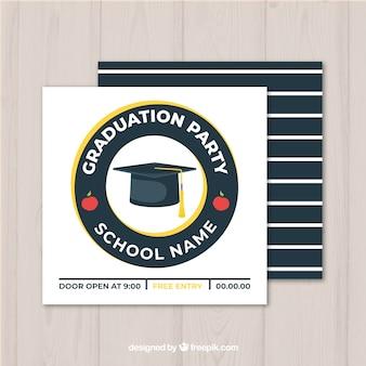 Plantilla de invitación de graduación con diseño plano
