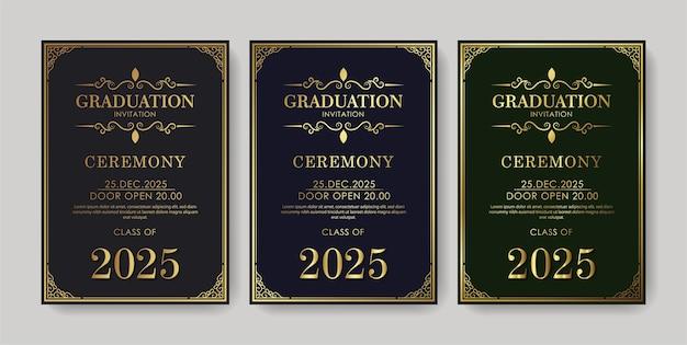 Plantilla de invitación de graduación elegante con adorno