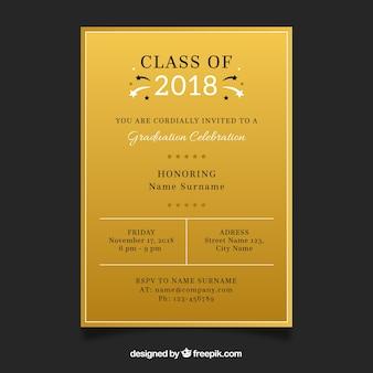 Plantilla de invitación de graduación con estilo dorado