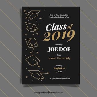 Plantilla de invitación a graduación con estilo dorado