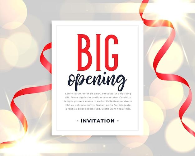 Plantilla de invitación de gran inauguración con cintas rojas
