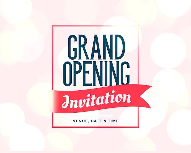 Plantilla de invitación de gran inauguración con detalles del evento