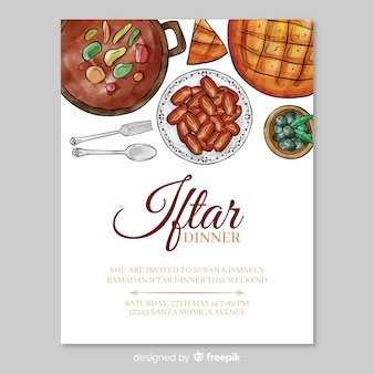Plantilla de invitación de iftar en acuarela