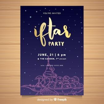 Plantilla de invitación de iftar dibujada a mano