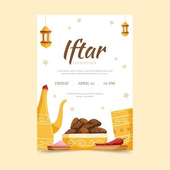 Plantilla de invitación iftar dibujada a mano