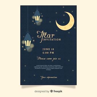 Plantilla de invitación de iftar en diseño plano