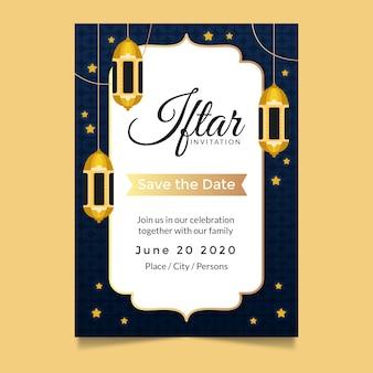 Plantilla de invitación de iftar con estrellas