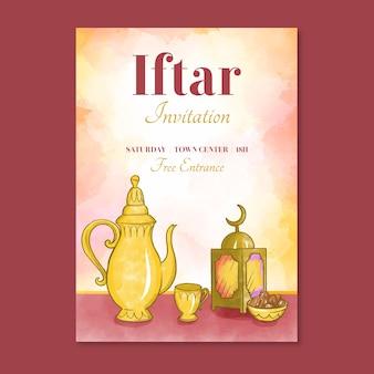 Plantilla de invitación de iftar con imagen de acuarela