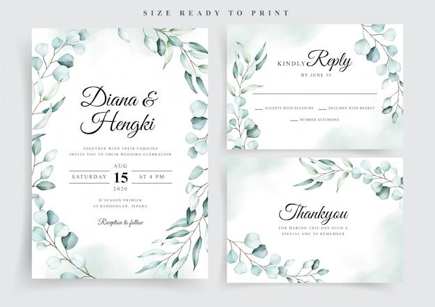 Plantilla de invitación de invitación de boda de acuarela de eucalipto suave