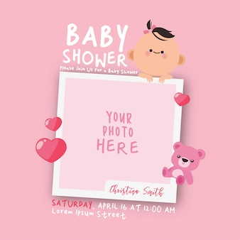 Plantilla de invitación de marco de decoraciones de baby shower de kawaii