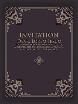 Plantilla de invitación con marco ornamental vintage