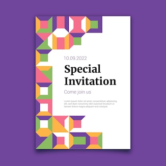 Plantilla de invitación de mosaico plano