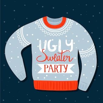 Plantilla de invitación de navidad en fiesta de suéter feo.