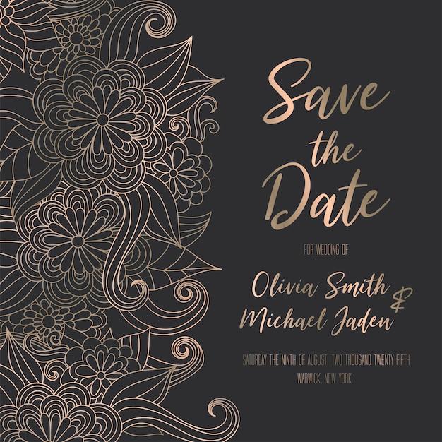 Plantilla de invitación de oro de lujo con flores dibujadas a mano zentangle