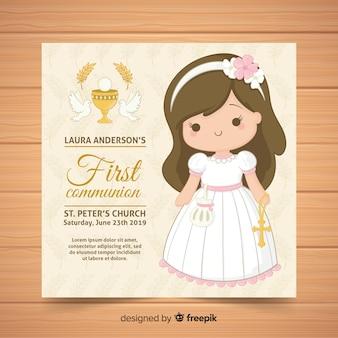 Plantilla de invitación de primera comunión dibujado a mano