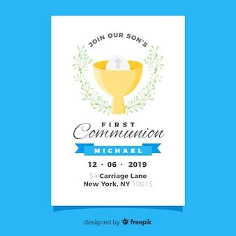 Plantilla de invitación de primera comunión en diseño plano