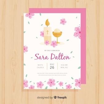 Plantilla de invitación de primera comunión floral