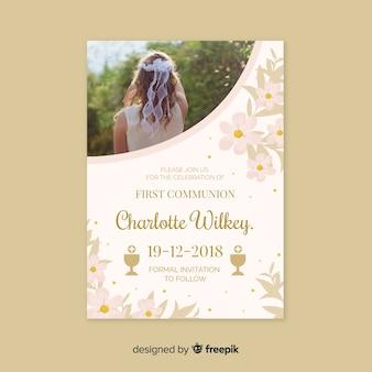 Plantilla de invitación de primera comunión con fotografía