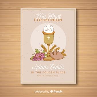 Plantilla de invitación para la primera comunión