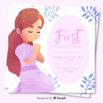 Plantilla de invitación de primera comunión