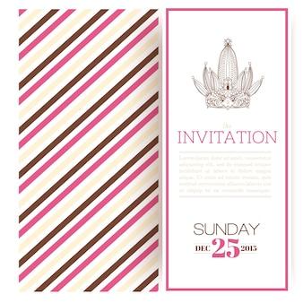 Plantilla de invitación de princesa rayada