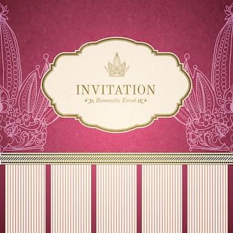 Plantilla de invitación de princesa retro