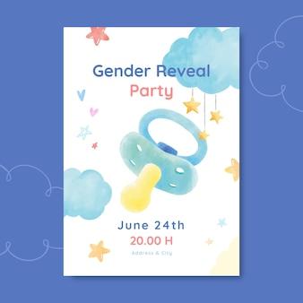 Plantilla de invitación de revelación de género en acuarela